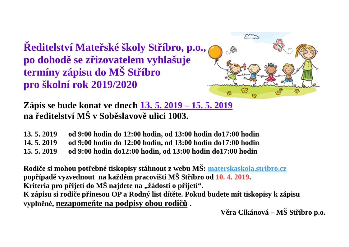 Zápis do MŠ Stříbro pro školní rok 2019/2020