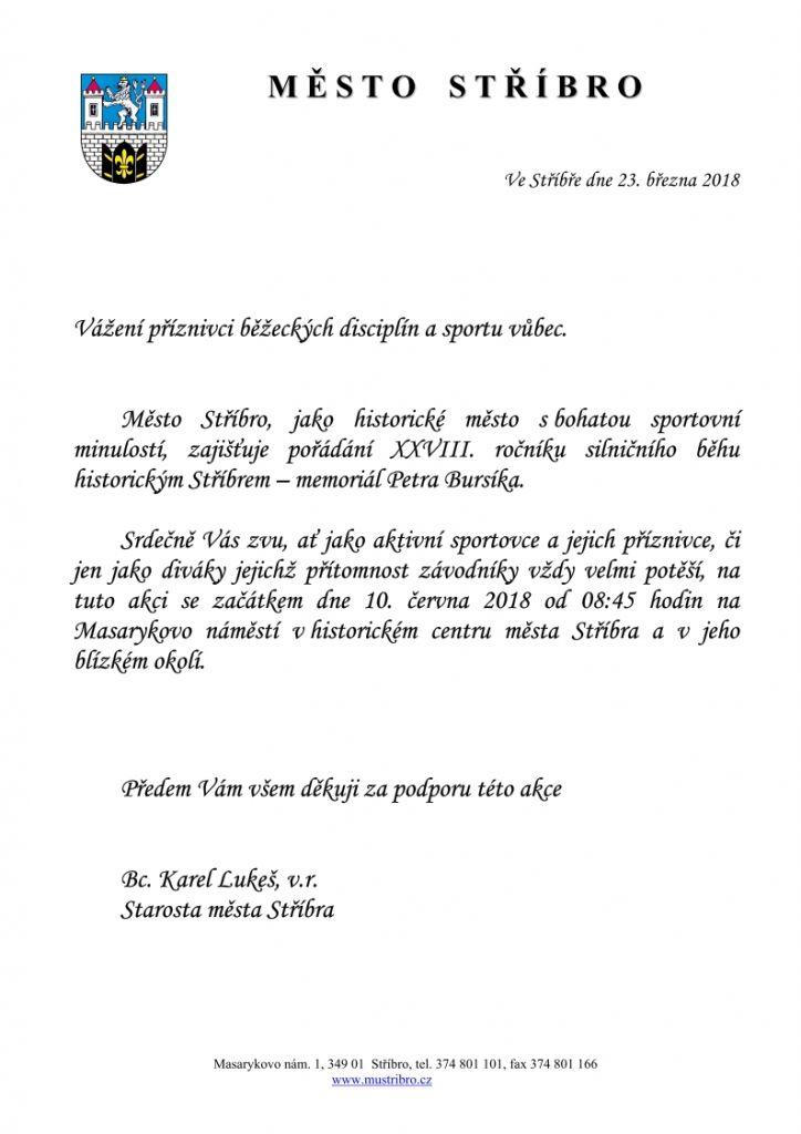 XXVIII. ročník silničního běhu historickým Stříbrem – memoriál Petra Bursíka 1